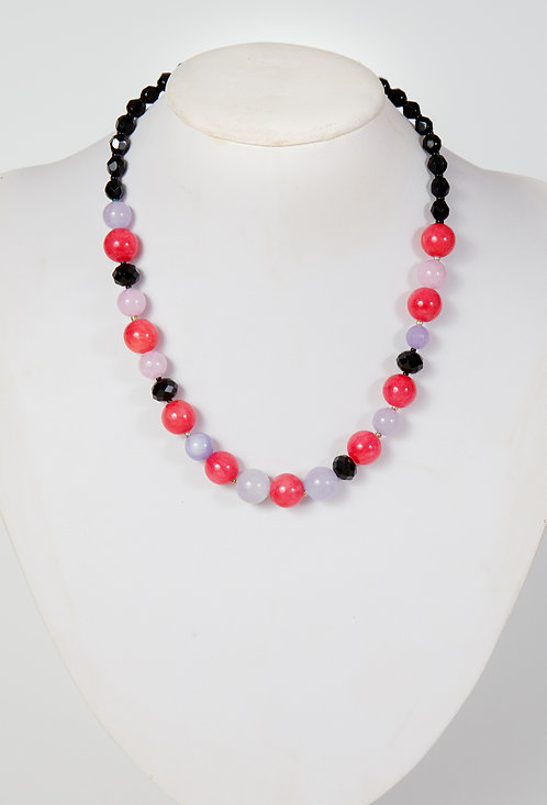 844 - Pink and lilac jade with black crystals