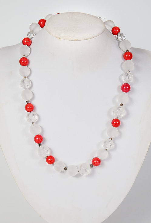 867 - red jade, snow crystals and opaque crystals