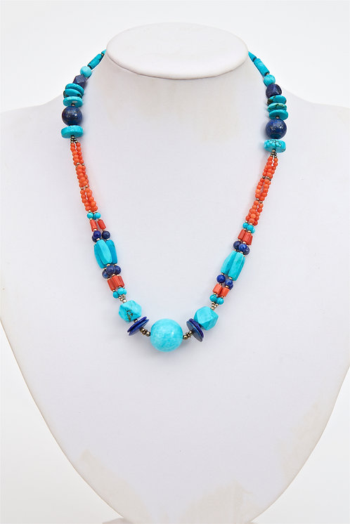 769 - Turquoise, lapis lazuli and coral