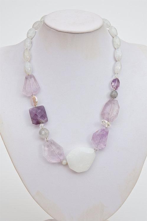 729 - Facetted amethyst, quartz, silver
