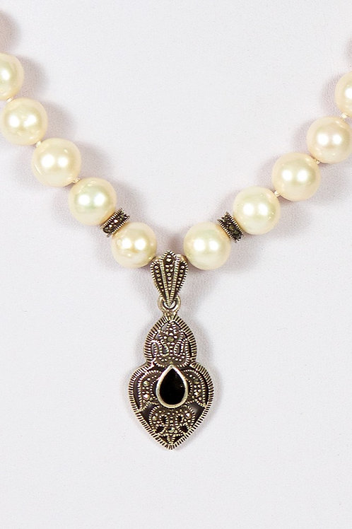 379 - Pearls with Marcasite/onyx pendant