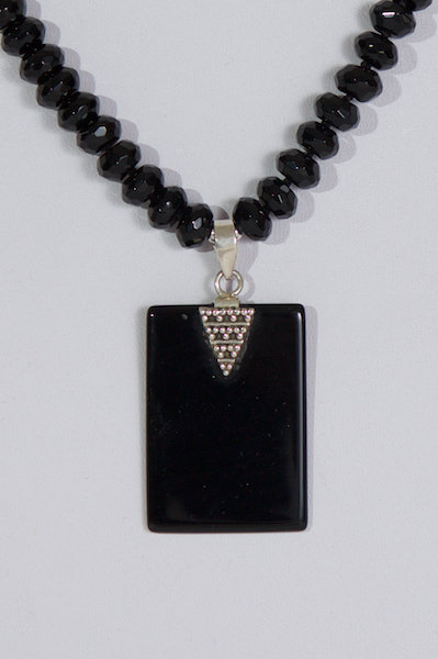 96  Black agate and silver