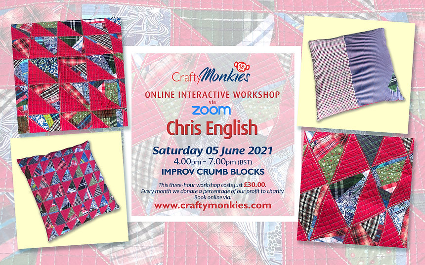 CraftyMonkies Chris English Online Interactive Workshop Improv Crumb Blocks!