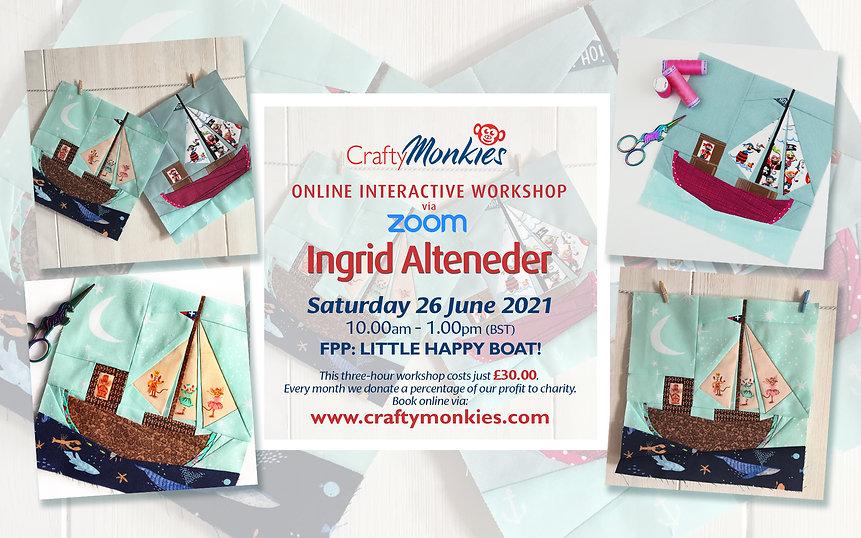 CraftyMonkies Ingrid Alteneder Online Interactive Workshop FPP: Little Happy Boat!