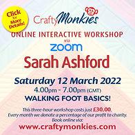 CraftyMonkies Sarah Ashford Online Interactive Workshop Walking Foot Basics