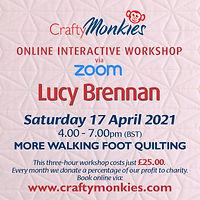 CraftyMonkies Lucy Brennan Online Interactive Workshop via Zoom More Walking Foot Quilting!