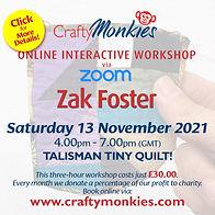 CraftyMonkies Zak Foster Online Interactive Workshop Talisman Tiny Quilt