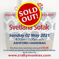 CraftyMonkies Svetlana Sotak Online Interactive Workshop via Zoom Ashford Handbag!