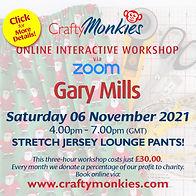 CraftyMonkies Gary Mills Online Interactive Workshop Stretch Jersey Lounge Pants