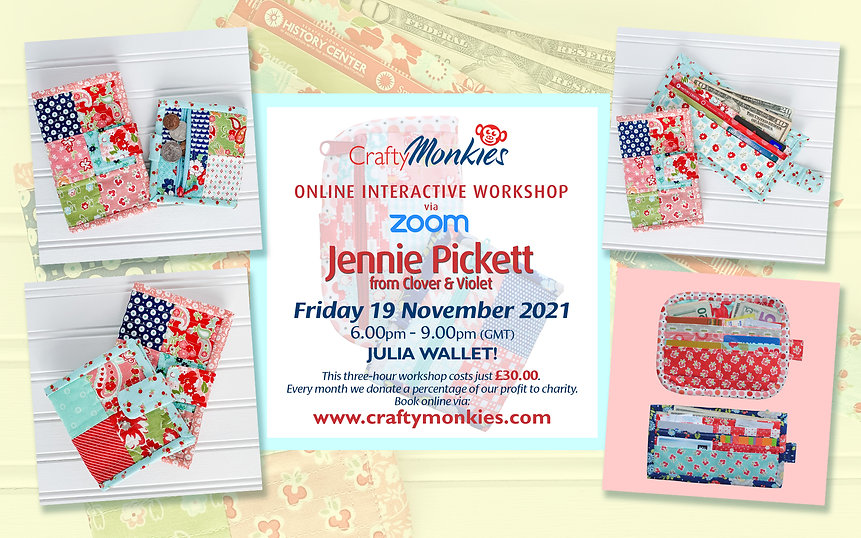 CraftyMonkies Jennie Pickett from Clover and Violet Online Interactive Workshop Julia Wallet!