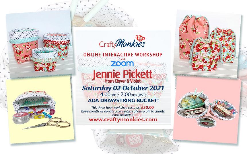 CraftyMonkies Jennie Pickett Online Interactive Workshop Ada Drawstring Bucket!