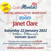 CraftyMonkies Janet Clare Online Interactive Workshop Memory Quilt!