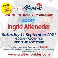CraftyMonkies Ingrid Alteneder Online Interactive Workshop FPP: The Rooster!