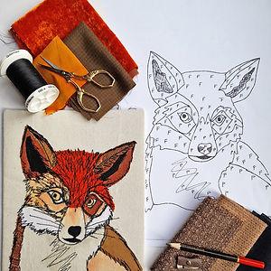 CraftyMonkies Gary Mills Online Interactive Zoom Workshop Mr Fox Hand Appliqué