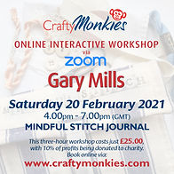 CraftyMonkies Gary Mills Online Interactive Workshop via Zoom Mindful Stitch Cloth Journal