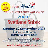 CraftyMonkies Svetlana Sotak Online Interactive Workshop Cumbria Tote Bag!