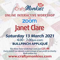 CraftyMonkies Janet Clare Online Interactive Workshop via Zoom FPP Bullfinch Appliqué