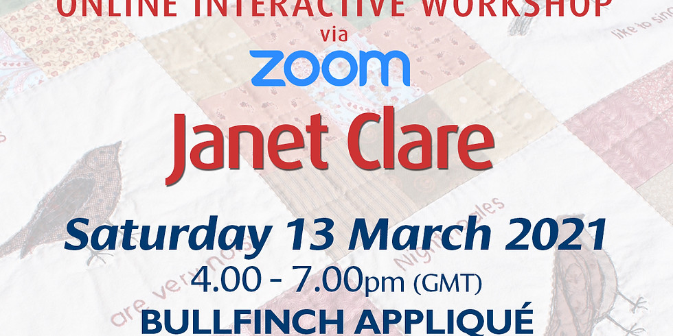Saturday 13 March 2021: Online Workshop (Bullfinch Appliqué)