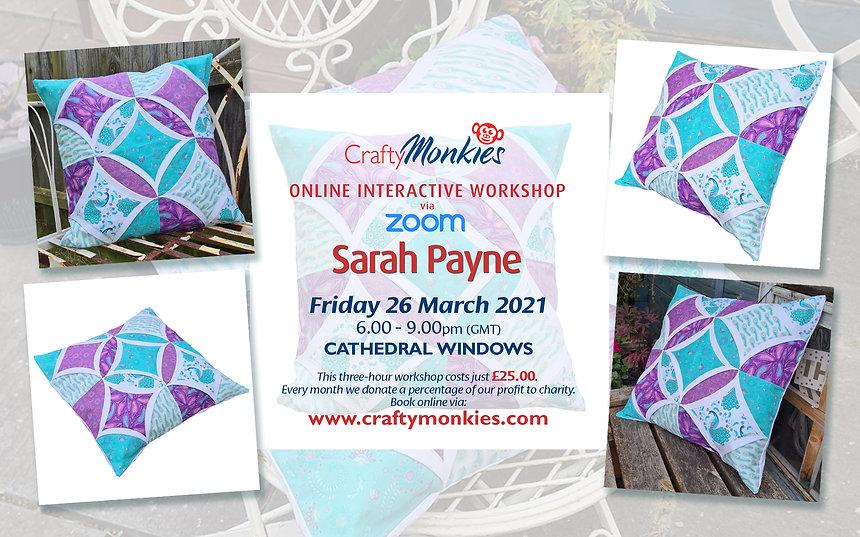 CraftyMonkies Sarah Payne Online Interactive Workshop via Zoom Cathedral Windows Block