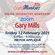 CraftyMonkies Gary Mills Online Interactive Workshop via Zoom Mr Fox Appliqué