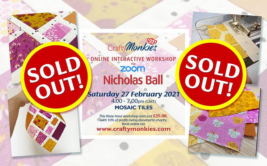 CraftyMonkies Nicholas Ball Online Interactive Workshop via Zoom Mosaic Tiles