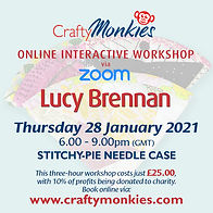 CraftyMonkies Lucy Brennan Online Interactive Workshop via Zoom Stitchy-Pie Needle Case
