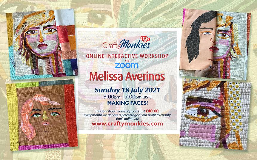 CraftyMonkies Melissa Averinos Online Interactive Workshop Making Faces!