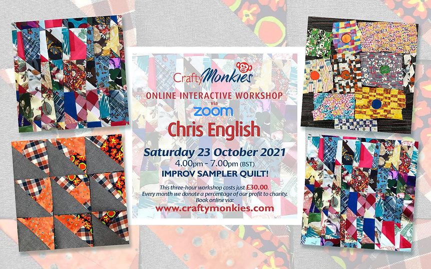 CraftyMonkies Chris English Online Interactive Workshop Improv Sampler Quilt!
