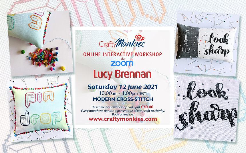 CraftyMonkies Lucy Brennan Online Interactive Workshop Modern Cross-Stitch Pin Cushions