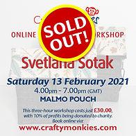 CraftyMonkies Svetlana Sotak Online Interactive Craft Workshop via Zoom - Malmo Pouch