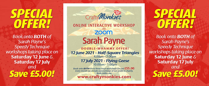CraftyMonkies Sarah Payne Online Interactive Workshops Half-Square Triangles & Flying Geese