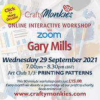 CraftyMonkies Gary Mills Online Interactive Workshop Printing Patterns!