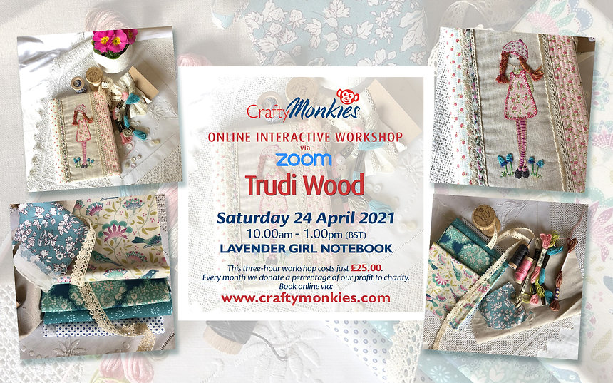 CraftyMonkies Trudi Wood Online Interactive Workshop Lavender Girl Notebook Cover