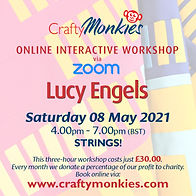 CraftyMonkies Lucy Engels Online Interactive Workshop via Zoom Strings!