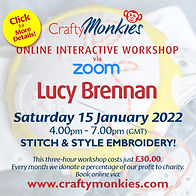 CraftyMonkies Lucy Brennan Online Interactive Workshop Stitch and Style Embroidery
