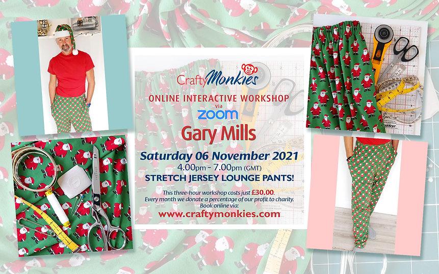 CraftyMonkies Gary Mills Online Interactive Workshop Stretch Jersey Lounge Pants!