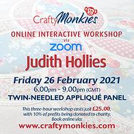 CraftyMonkies Judth Hollies Online Interactive Workshop via Zoom Twin-Needled Appliqué Panel