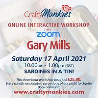 CraftyMonkies Gary Mills Online Interactive Workshop via Zoom Sardines In A Tin!