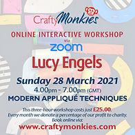 CraftyMonkies Lucy Engels Online Interactive Workshop via Zoom Modrn Appliqué Techniques