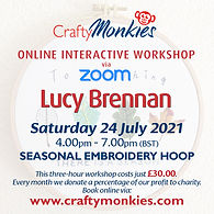 CraftyMonkies Lucy Brennan Online Interactive Workshop Embroidery Hoops