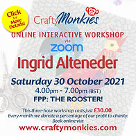 CraftyMonkies Ingrid Alteneder Online Interactive Workshop FPP: Rooster!