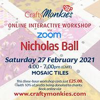 CraftyMonkies Nicholas Ball Online Interactive Workship via Zoom Mosaic Tiles