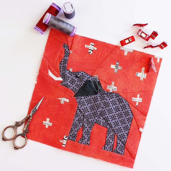 Improve your FPP skills wit Ingrid's fabulous Elli The Elephant Quilt Block!