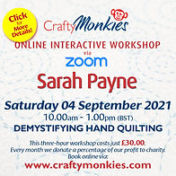 CraftyMonkies Sarah Payne Online Interactive Class Demystifying Hand Quilting