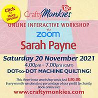 CraftyMonkies Sarah Payne Online Interactive Workshop Dot-To-Dot Machine Quilting!
