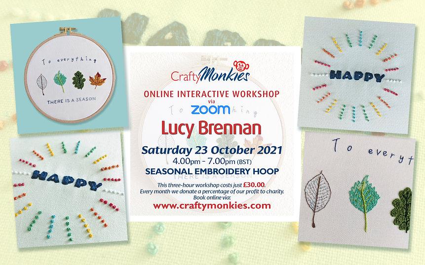CraftyMonkies Lucy Brennan Online Interactive Workshop Seasonal Embroidery Hoop!