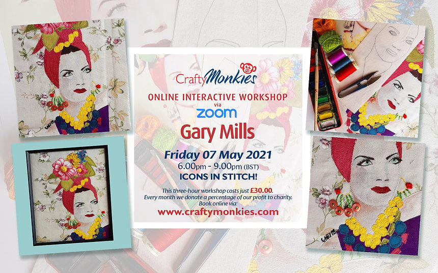 CraftyMonkies Gary Mills Online Interactive Workshop via Zoom: Icons In Stitch!