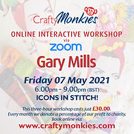 CraftyMonkies Gary Mills Online Interactive Workshop via Zoom: Icons In Stitch!