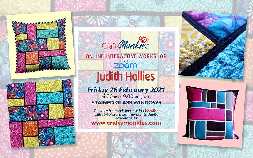 CraftyMonkies Judith Hollies Online Interactive Workshop via Zoom Stained Glass Window Effects