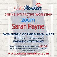 CraftyMonkies Sarah Payne Online Interactive Workshop via Zoom Sashiko Stitching